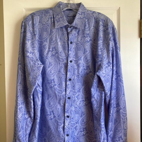 Tasso Elba Mens Dress Shirt 16 16 1/2 Blue paisley